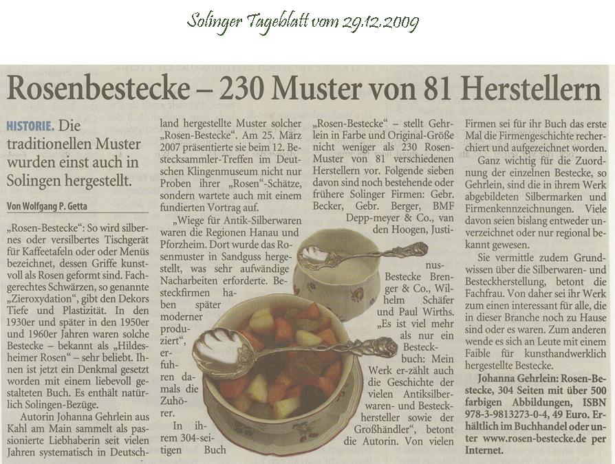 Solinger Tageblatt 29.12.2009